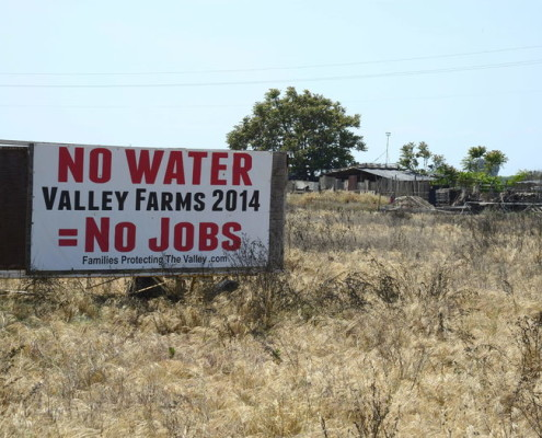 A sign reads 'No Water = No Jobs' along Hiway in California's Central Valley, USA, 10 April 2015. Photo: EFE/EPA/MICHAEL NELSON
