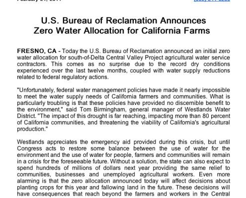 U.S. Bureau of Reclamation Announces Zero Water Allocation for California Farms